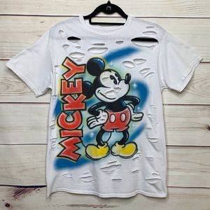 Disney MICKEY MOUSE Cut Up Tee Spray Paint Graphic